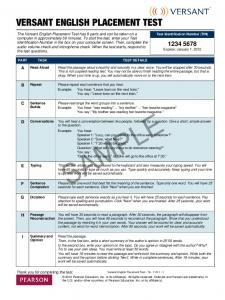 Versant English Placement Test - Sample Test Paper
