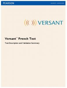 Versant French Test