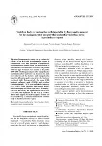 Vertebral body reconstruction with injectable hydroxyapatite cement ...