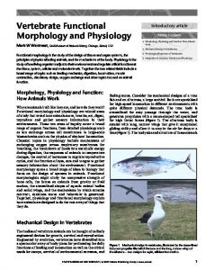 Vertebrate Functional Morphology and Physiology