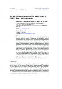 Vertical and lateral ordering of Ge islands grown on Si
