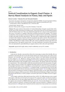 Vertical Coordination in Organic Food Chains: A Survey Based ...