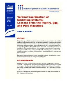 Vertical Coordination of Marketing Systems - AgEcon Search