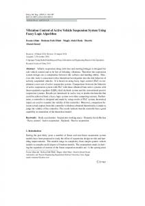 Vibration control of active vehicle suspension system using fuzzy logic ...