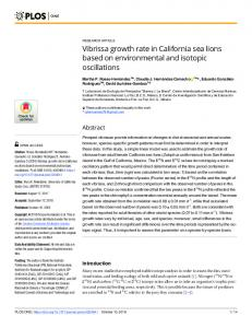Vibrissa growth rate in California sea lions based on ... - Plos