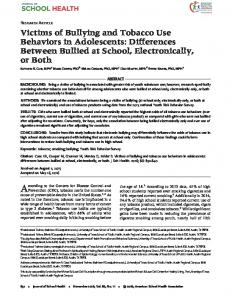 Victims of Bullying and Tobacco Use Behaviors ... - Wiley Online Library