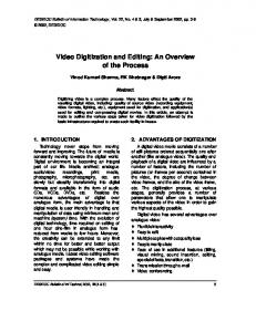 Video Digitization and Editing: An Overview of ... - (DRDO) Publications