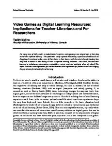 Video Games as Digital Learning Resources