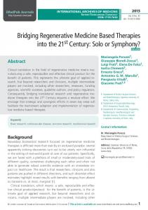 View of Bridging regenerative medicine based therapies into the 21st ...