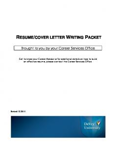 view resume/cover letter writing packet