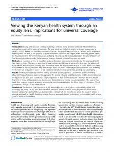 Viewing the Kenyan health system through an equity lens: implications ...