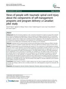 Views of people with traumatic spinal cord injury about the ...