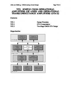 VIII. SIMPLE CMOS OPERATIONAL AMPLIFIERS (OP AMPS) AND ...