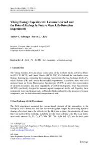 Viking Biology Experiments: Lessons Learned and the ... - Springer Link