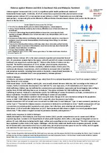Violence against Women and Girls in Southeast Asia and Malaysia ...