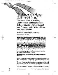 Violence Is a Many- Splintered Thing