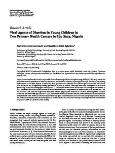 Viral Agents of Diarrhea in Young Children in Two Primary Health ...
