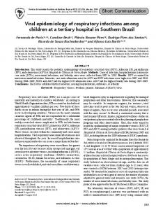 Viral epidemiology of respiratory infections among children at a tertiary ...