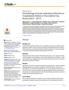 Viral etiology of acute respiratory infections in hospitalized ... - PLOS