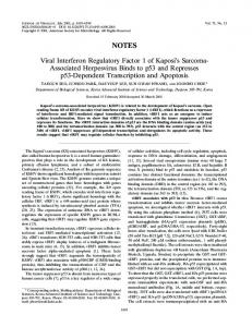 Viral Interferon Regulatory Factor 1 of Kaposi's ... - Journal of Virology