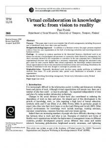 Virtual collaboration in knowledge work: from vision to reality