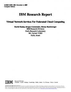 Virtual Network Services For Federated Cloud ... - IBM Research