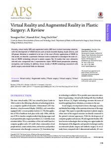 Virtual Reality and Augmented Reality in Plastic