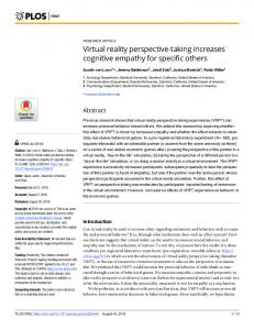 Virtual reality perspective-taking increases cognitive empathy ... - PLOS
