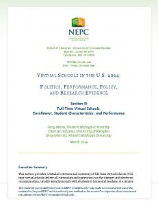 VIRTUAL SCHOOLS IN THE US 2014 - National Education Policy ...