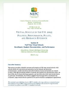 virtual schools in the us 2015: politics, performance, policy, and ...