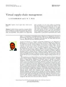 Virtual supply-chain management - CiteSeerX