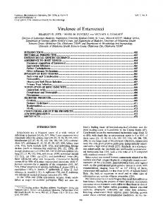 Virulence of Enterococci - Clinical Microbiology Reviews - American