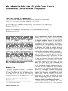 Viscoelasticity behaviors of lightly cured natural ... - Wiley Online Library