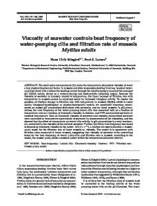 Viscosity of seawater controls beat frequency of water-pumping cilia