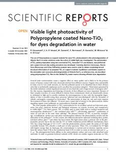 Visible light photoactivity of Polypropylene coated Nano-TiO2 for dyes