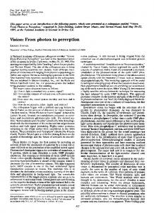 Vision: From photon to perception