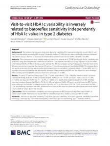 Visit-to-visit HbA1c variability is inversely related to baroreflex ...