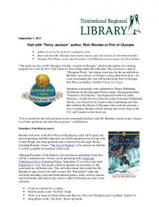 "Visit with ""Percy Jackson"" author, Rick Riordan at Port of Olympia"