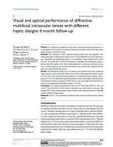 Visual and optical performance of diffractive multifocal ... - CiteSeerX