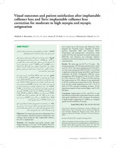 Visual outcomes and patient satisfaction after implantable collamer ...