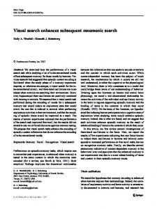 Visual search enhances subsequent mnemonic search