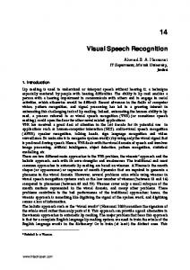 Visual Speech Recognition - arXiv