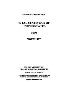 Vital Statistics of the United States: Mortality, 1999 - Centers for ...
