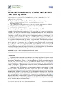 Vitamin D Concentration in Maternal and Umbilical Cord Blood by ...