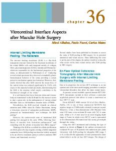 Vitreoretinal Interface Aspects after Macular Hole ...