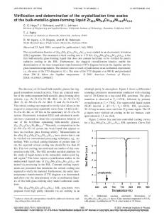 Vitrification and determination of the crystallization time scales of the ...
