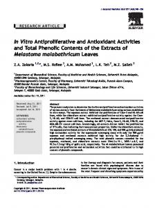 Vitro Antiproliferative and Antioxidant Activities and Total ... - Core