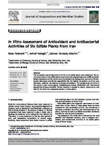 Vitro Assessment of Antioxidant and Antibacterial ...