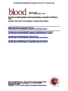 vitro No effect of fasting plasma total homocysteine on ...