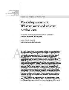 Vocabulary assessment: What we know and what we ... - TextProject